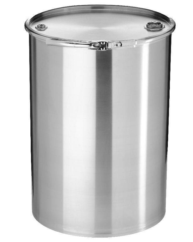 Stainless steel lidded drum with 2'' and 3/4'' bung, 120 litre, 1.0 mm thick, 1.4404