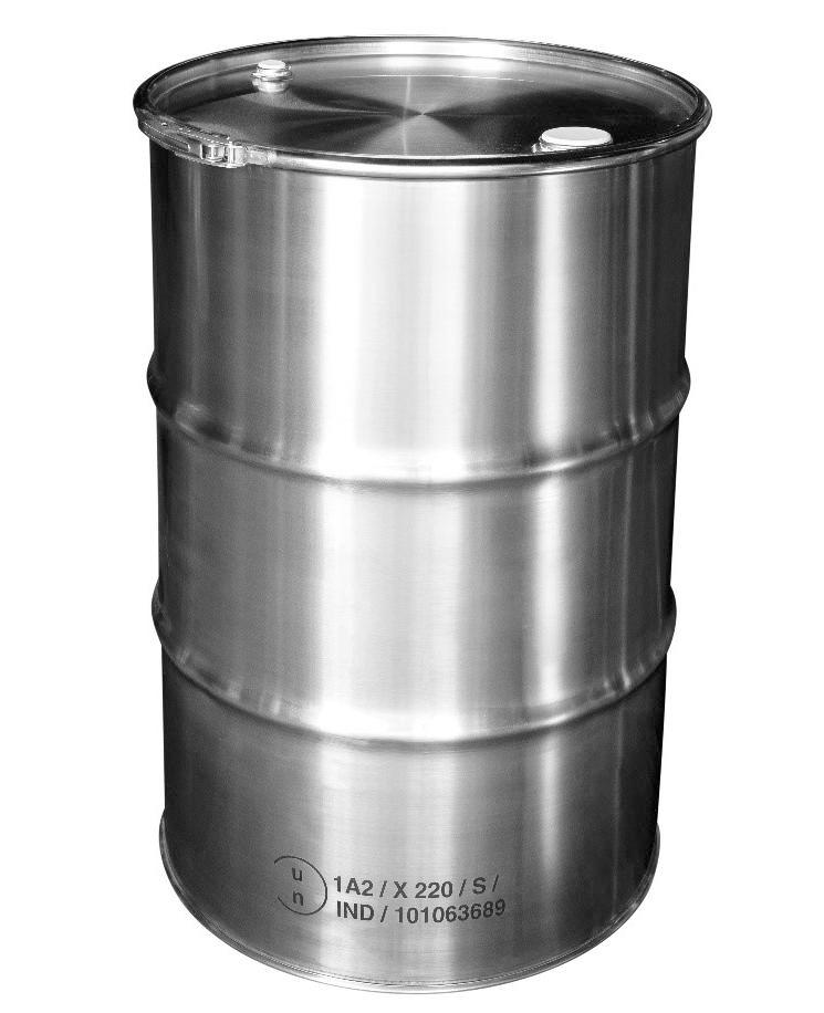 Stainless steel lidded drum with 2'' and 3/4'' bung, 213 litre, 1.0 mm thick, 1.4301