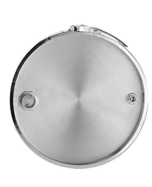 Stainless steel lidded drum with 2'' and 3/4'' bung, 213 litre, 1.0 mm thick, 1.4404