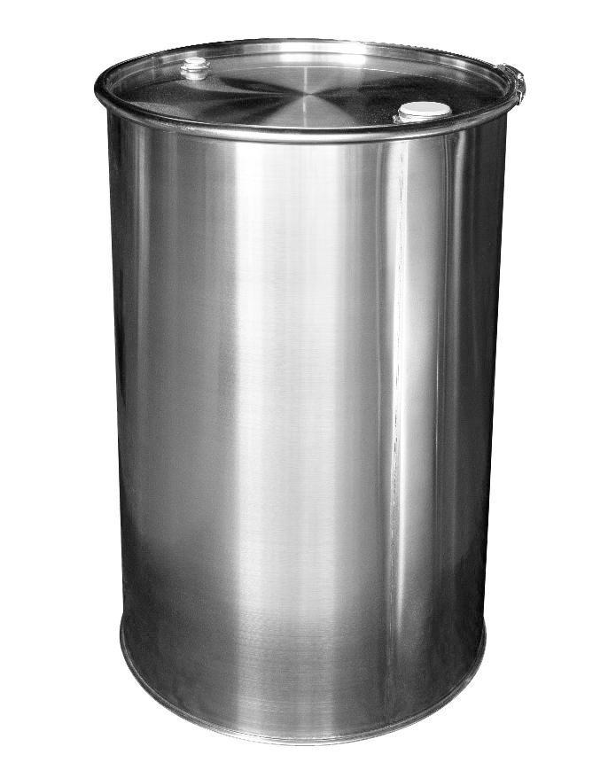 Stainless steel lidded drum with 2'' and 3/4'' bung, 213 litre, 1.2 mm thick, 1.4301 - 1