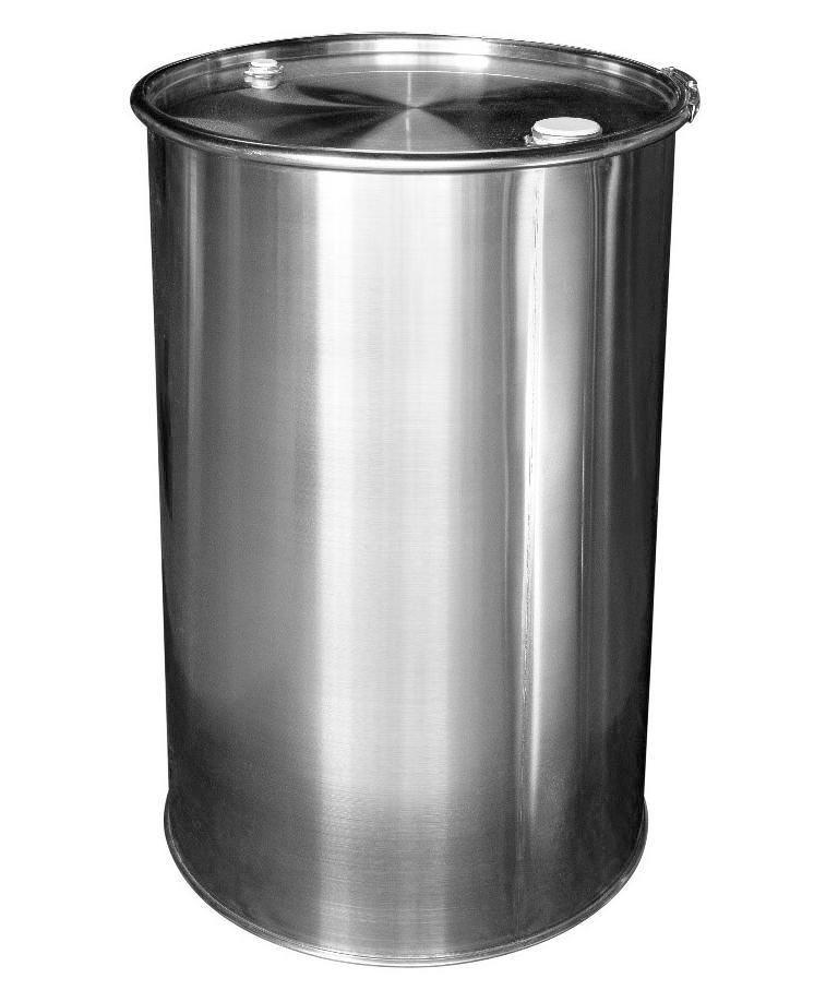 Stainless steel lidded drum with 2'' and 3/4'' bung, 213 litre, 1.2 mm thick, 1.4404