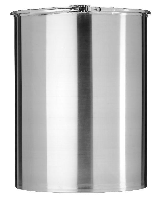 Stainless steel lidded drum with 2'' and 3/4'' bung, 60 litre, 1.0 mm thick, 1.4301