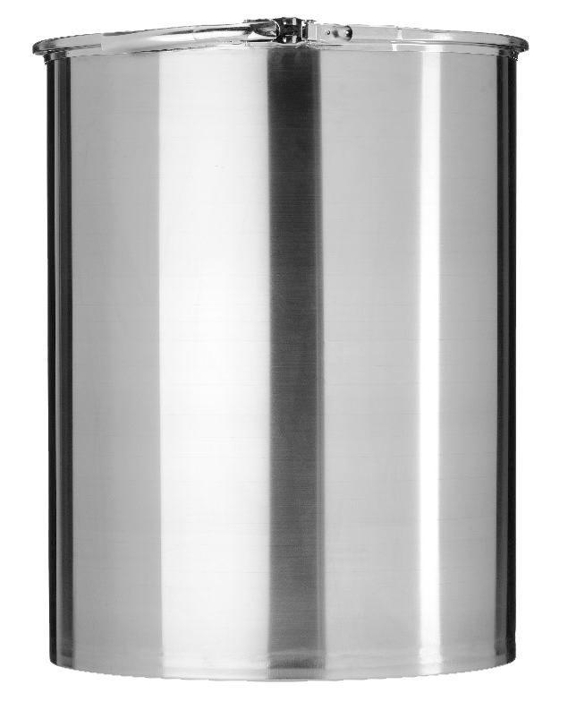 Stainless steel lidded drum with 2'' and 3/4'' bung, 60 litre, 1.0 mm thick, 1.4401