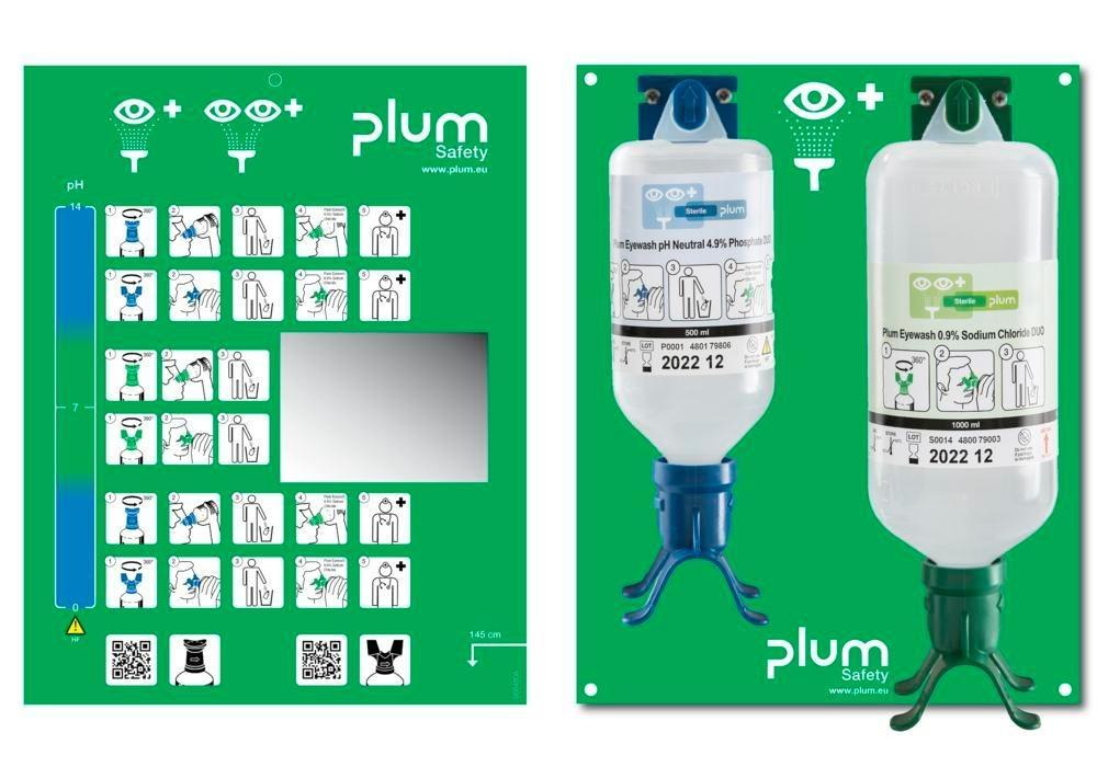 Wall mounted unit with 2 eye rinse bottles, 500 ml pH neutral solution and 1000 ml - 1
