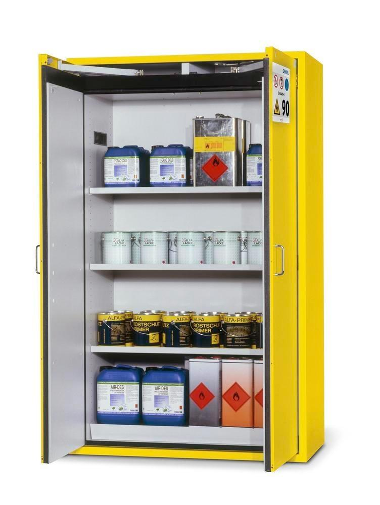 asecos fire-rated hazardous materials cabinet G 1201 with 3 shelves and wing doors, yellow