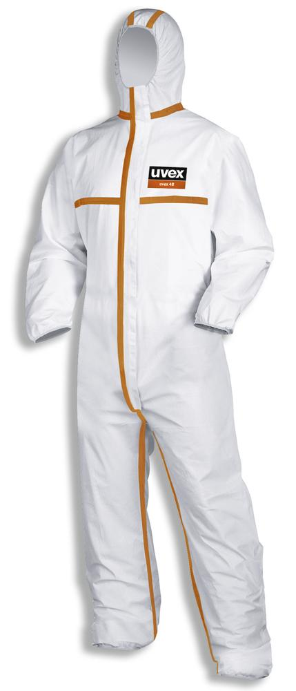 Chemical protection overall uvex 4B, Category III, Model 4, white/orange, Sz. XXXL