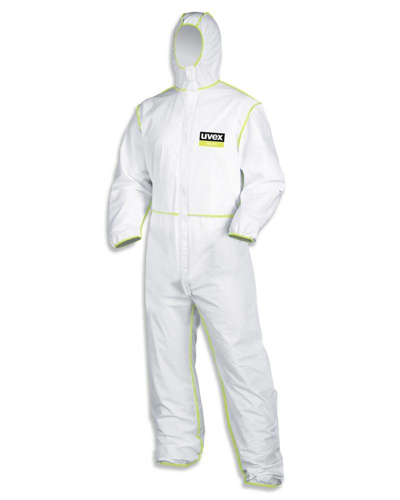 Chemical protection overall uvex 5/6, Category III, Model 5/6, white/lime, Sz. XL