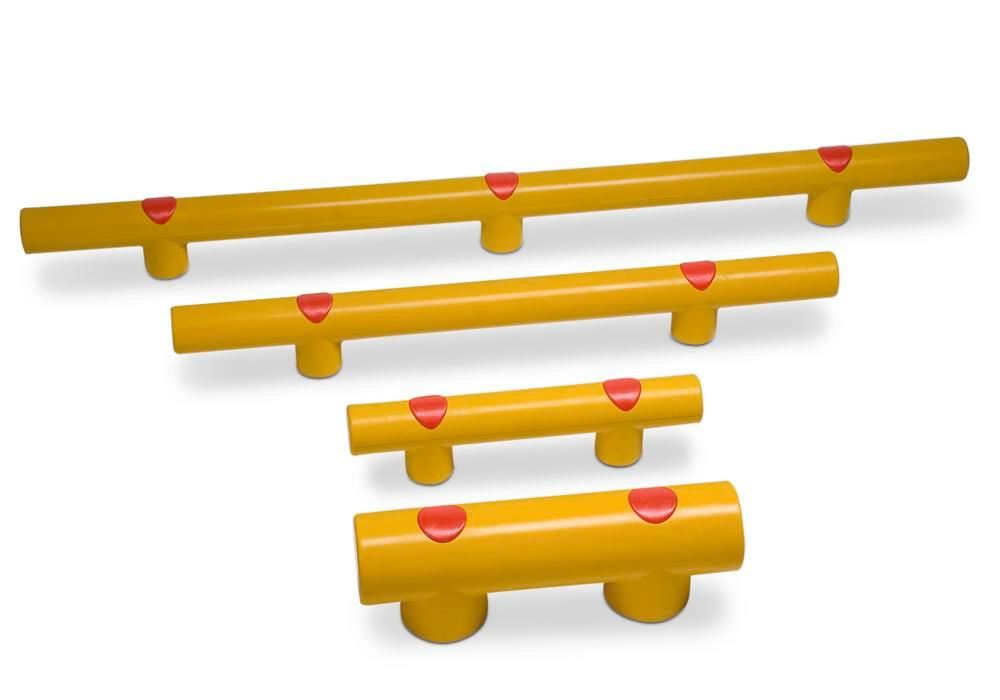 Collision protection bars for setting in concrete, yellow plastic, Ø 7 cm, 150 cm long, 125 mm high