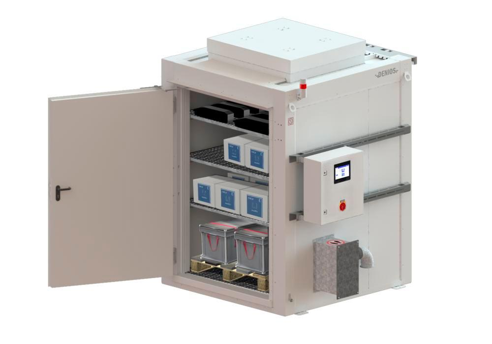 Compact fire-rated storage container RFP 115 for lithium energy storage devices