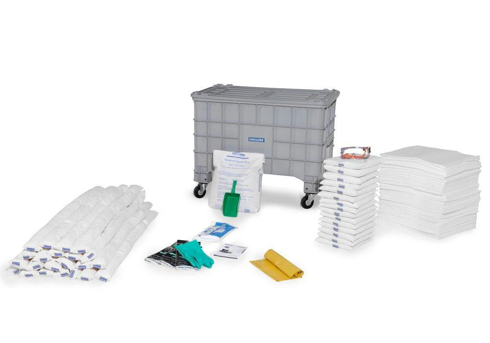 DENSORB Emergency Spill Kit in Storage Box with Lid and Castors, application OIL - 6