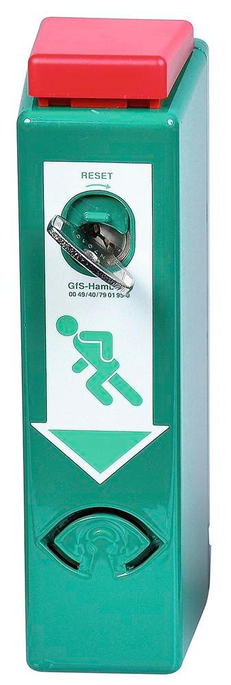 Door guard alarms for door handles with pre-alarm, one handed operation, colour RAL 6029