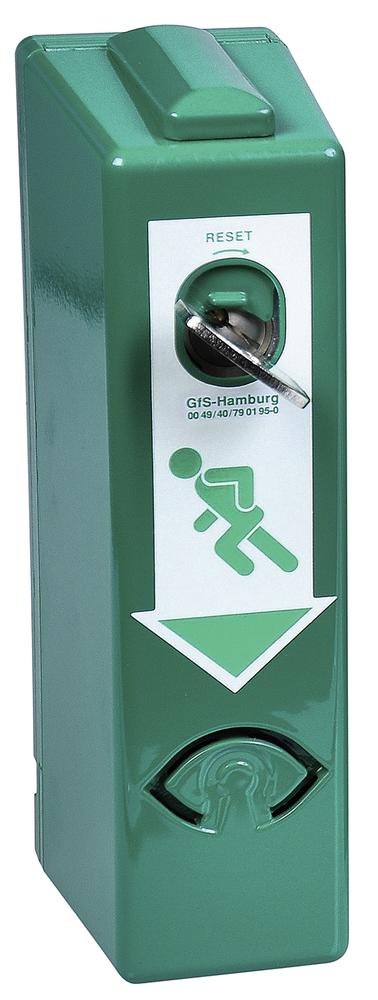 Door guard alarms for door handles without pre-alarm, one handed operation, colour RAL 6029