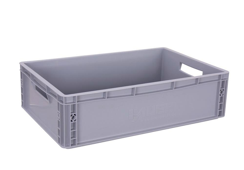 Euro box for occasional trolley, closed bottom and sides, open handles, 600 x 400 x 170 mm - 1