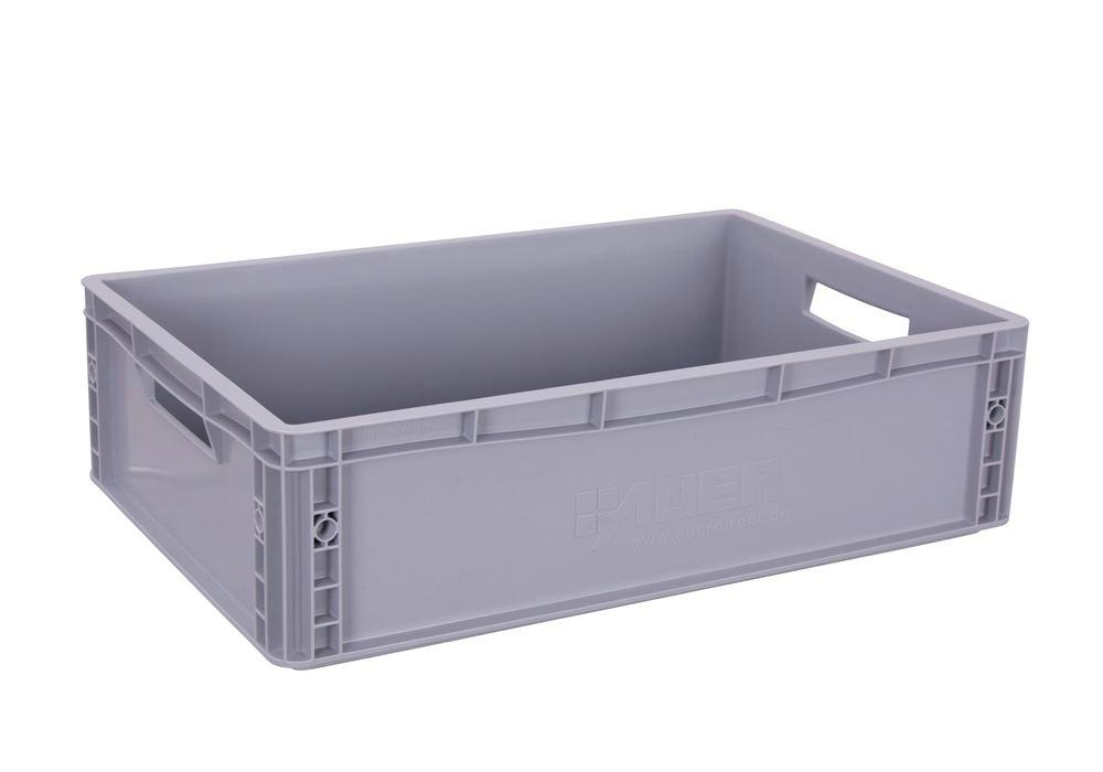 Euro box for occasional trolley, closed bottom and sides, open handles, 600 x 400 x 220 mm