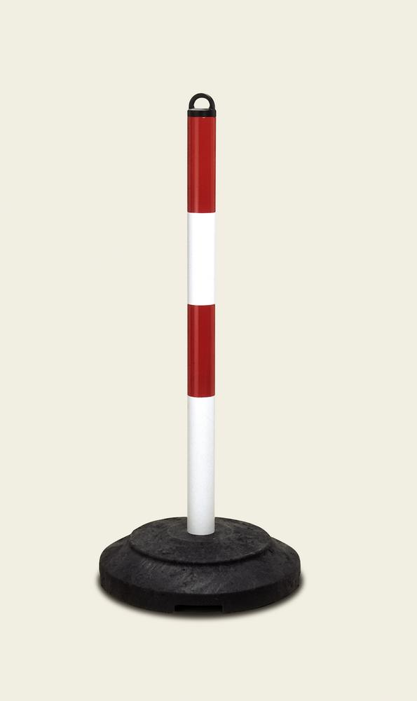Heavy duty chain barrier post, red/white, recycled plastic base, 1000 mm high