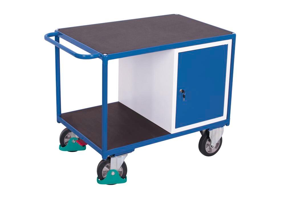 Heavy duty workshop trolley with 2 shelves and wing door, width 1190 mm