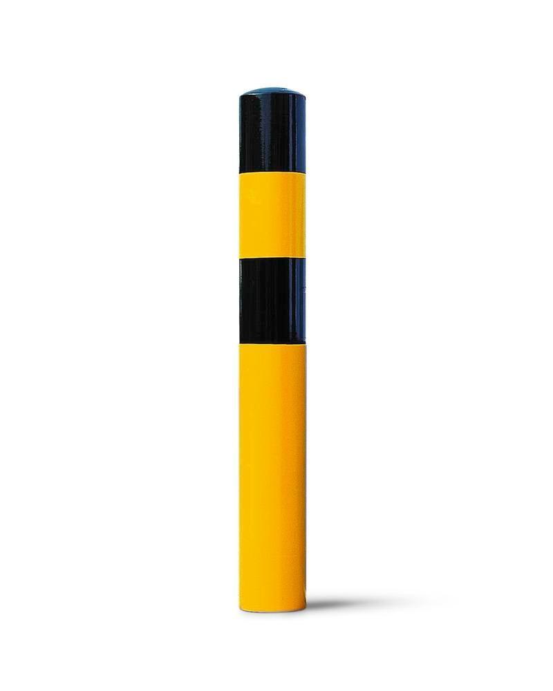 Impact protection bollard in steel for anchor bolts, Ø 90 mm, H 1200, yellow/black