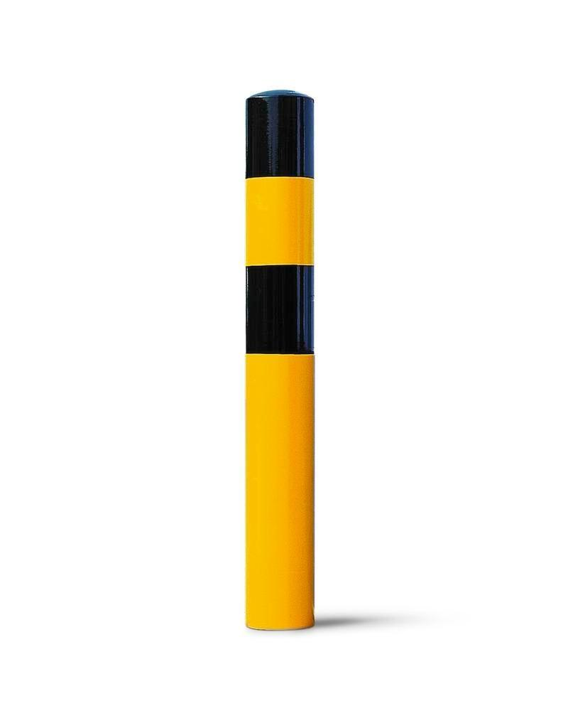 Impact protection bollard in steel for setting in concrete, Ø 90 mm, H 1600, yellow/black