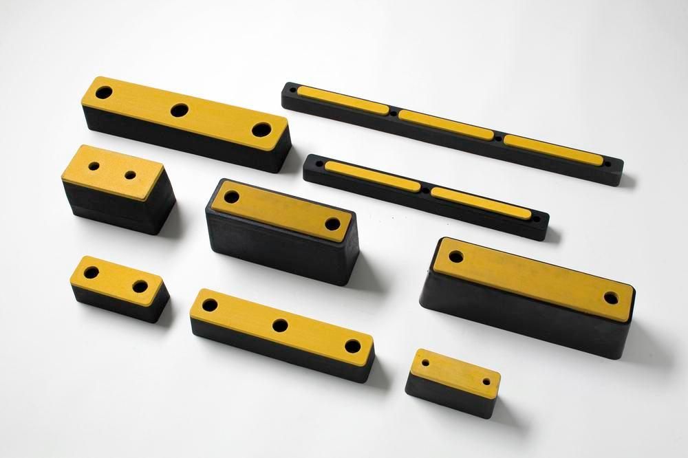 Impact protection buffer 4, rubber, black with yellow surface, 345 x 100 x 115 mm