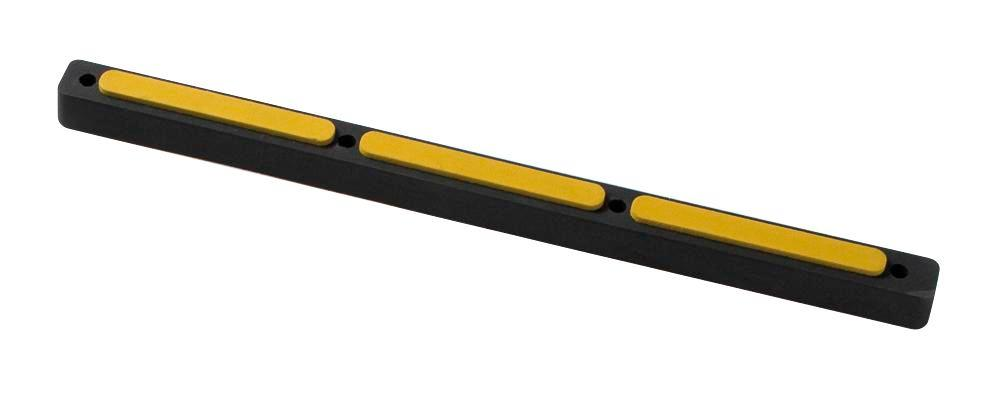 Impact protection buffer 9, rubber, black with yellow surface, 665 x 45 x 34 mm - 1