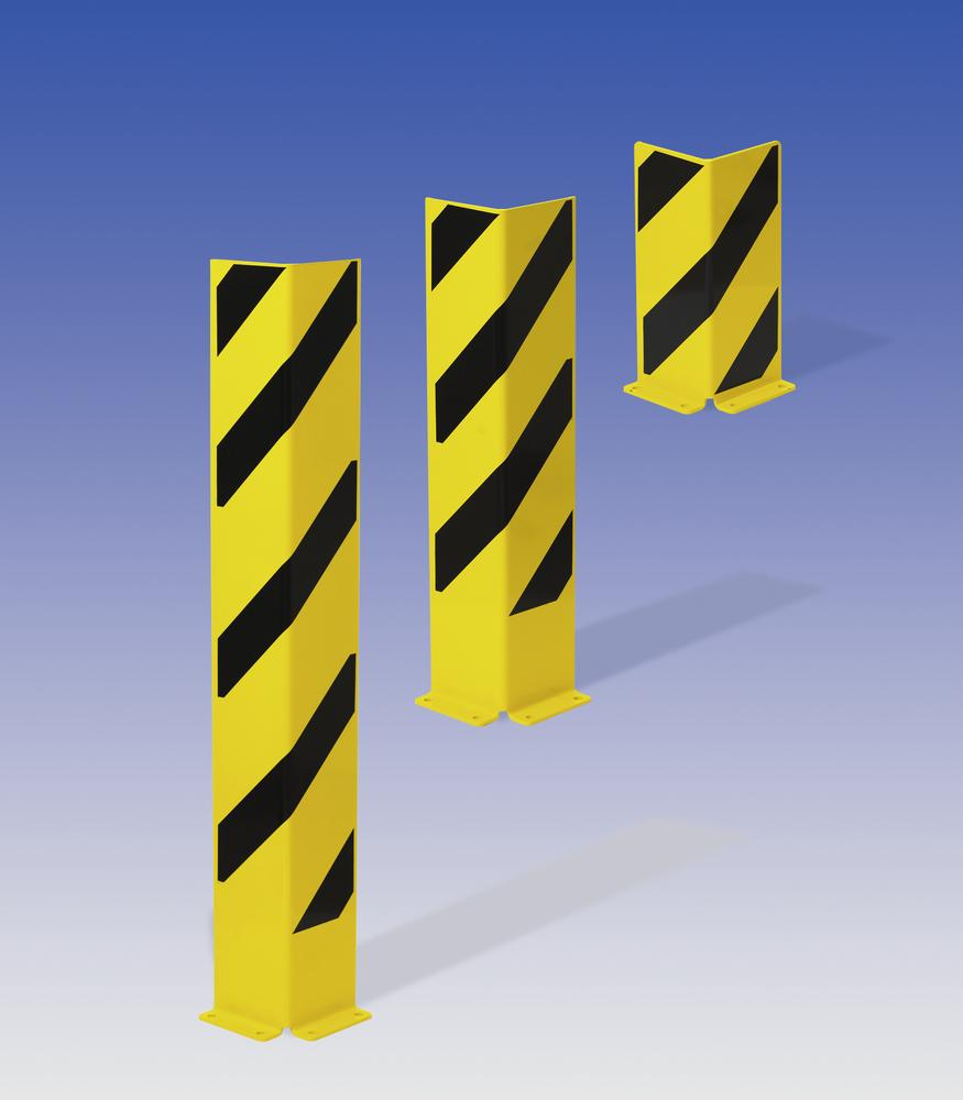 Impact protection corner 1200, plastic coated, yellow with black stripes, 1200 x 160 mm