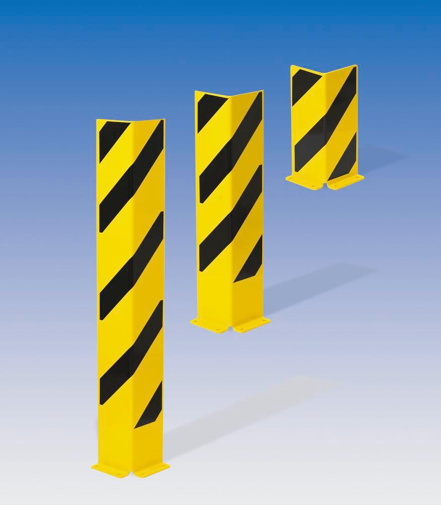 Impact protection corner 800, plastic coated, yellow with black stripes, 800 x 160 mm - 2
