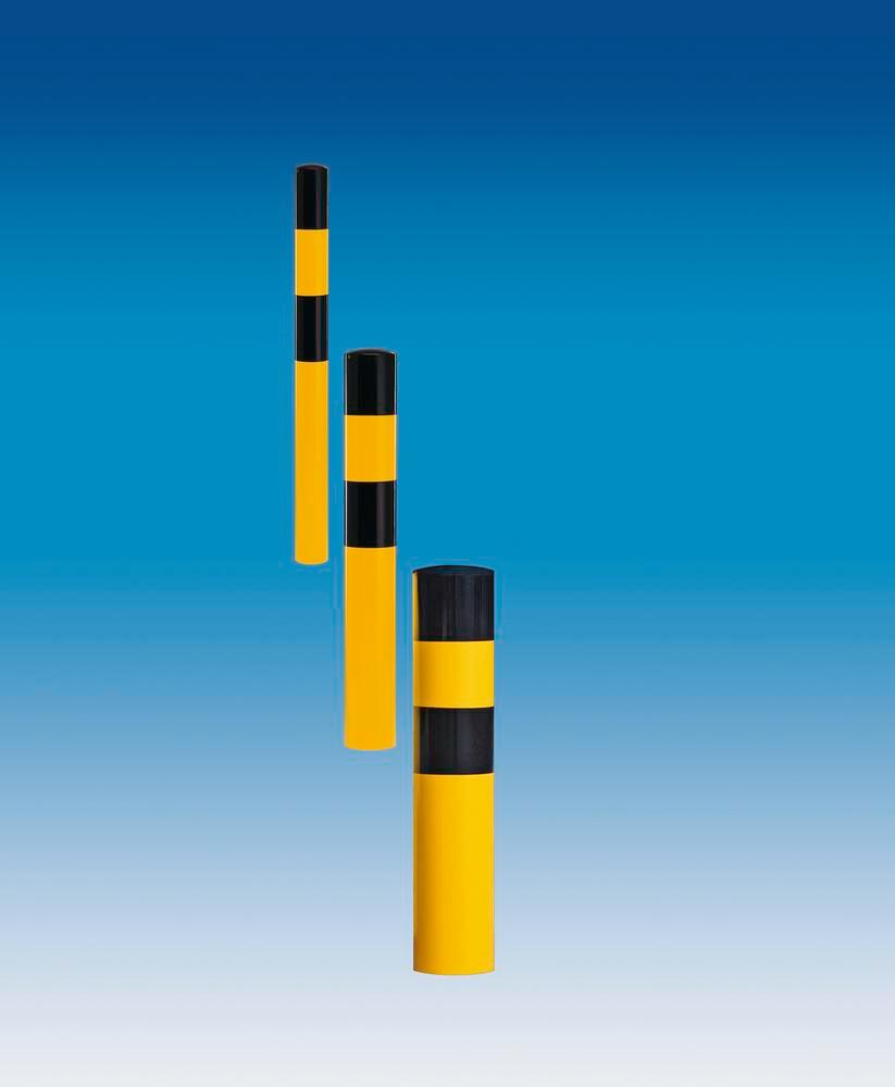 Impact protection elements XL to set into concrete, hot-dip galv, yellow/ black, Ø 194 mm, 1600 mm - 1