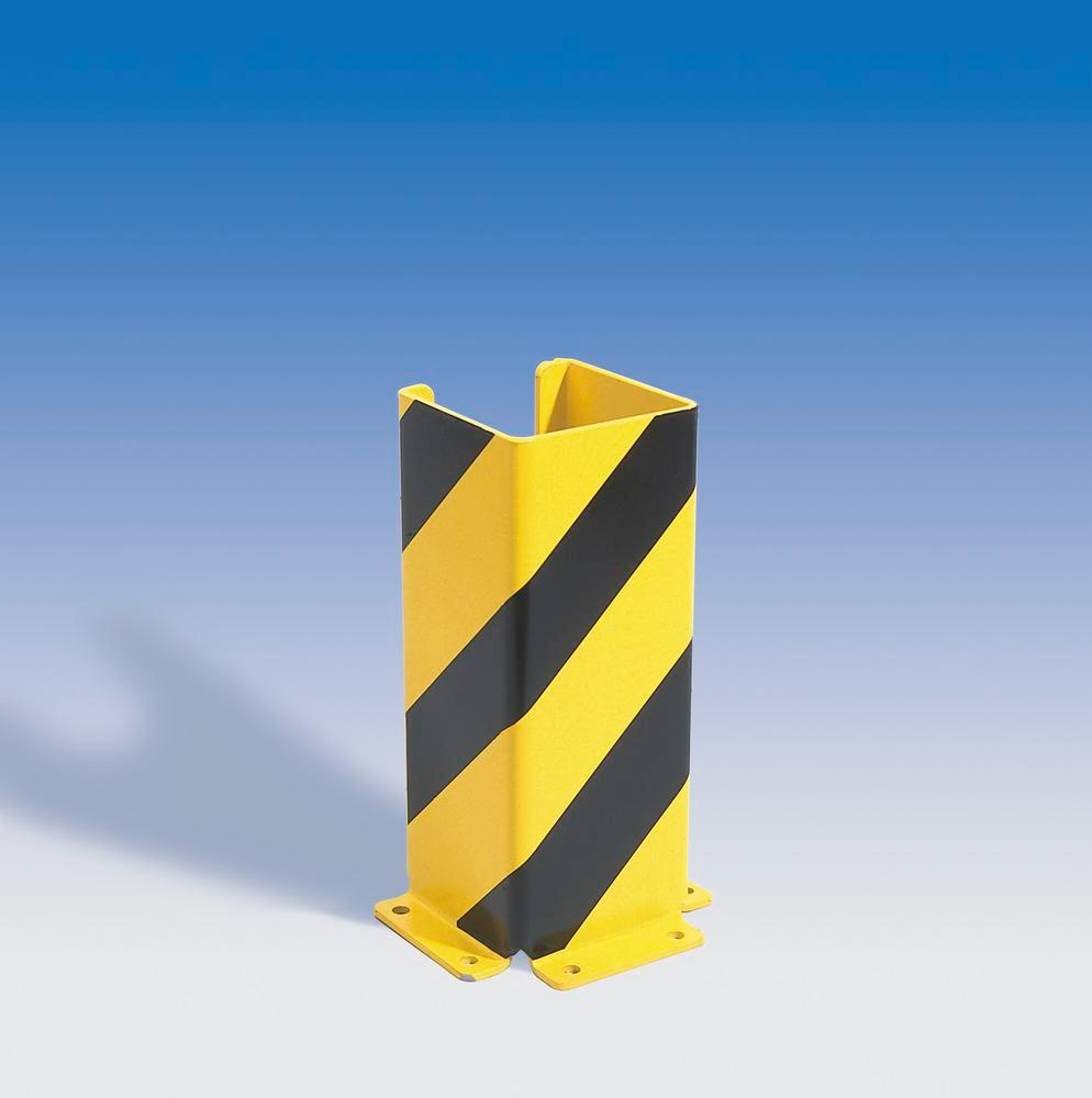 Impact protection U profile 400, plastic coated, yellow with black stripes, 400 x 160 mm