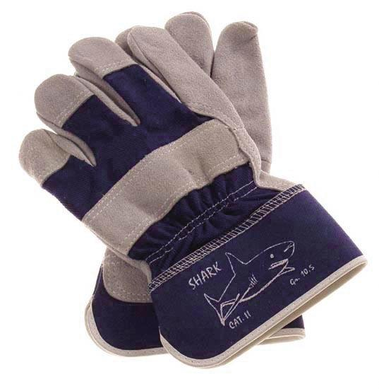 Mechanics Gloves, Shark, grain leather, Category II, size 11, blue / grey, 12 pairs per pack - 1