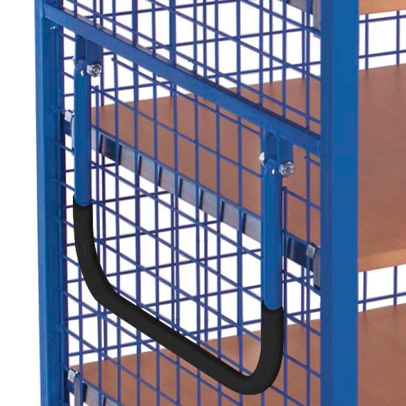 Mesh trolley with 2-wing door and espagnolette lock, 3 shelves, EasySTOP, 1245 x 785 mm