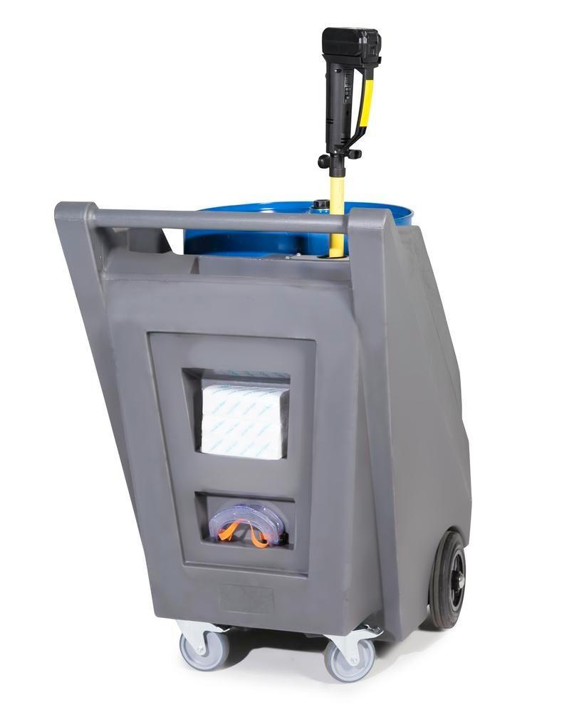 Mobile pump system for acids / chemicals, with drum trolley in PE and battery drum pump in PP