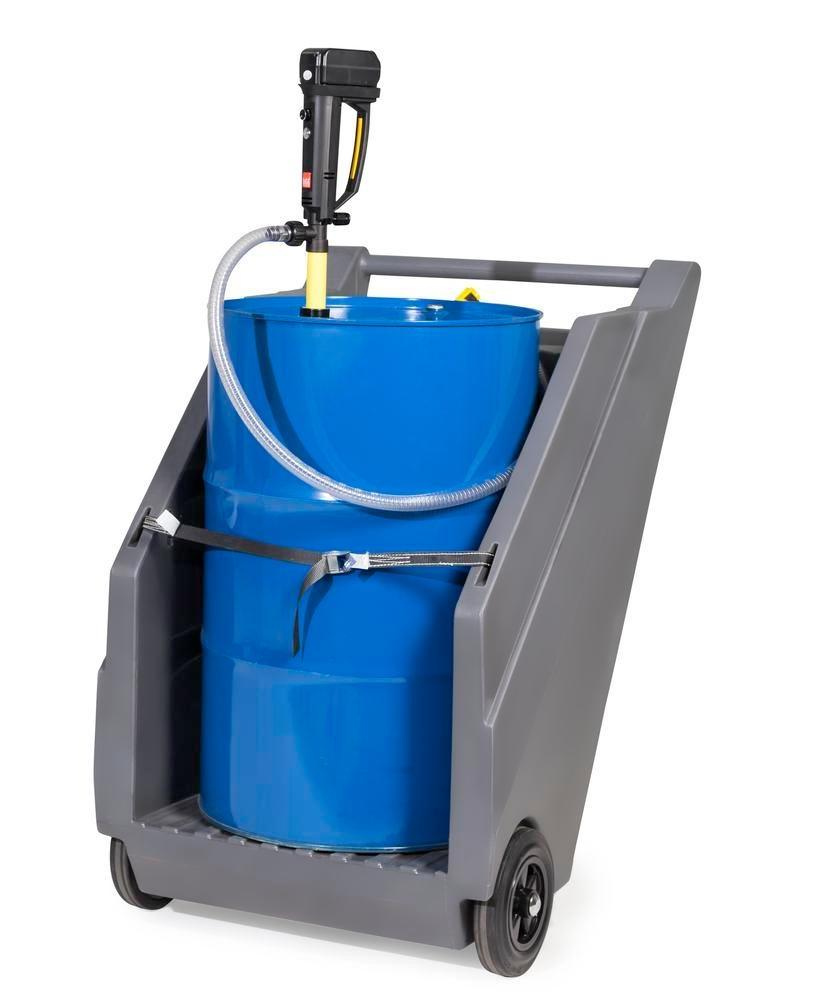 Mobile pump system for acids / chemicals, with drum trolley in PE and battery drum pump in PP - 1