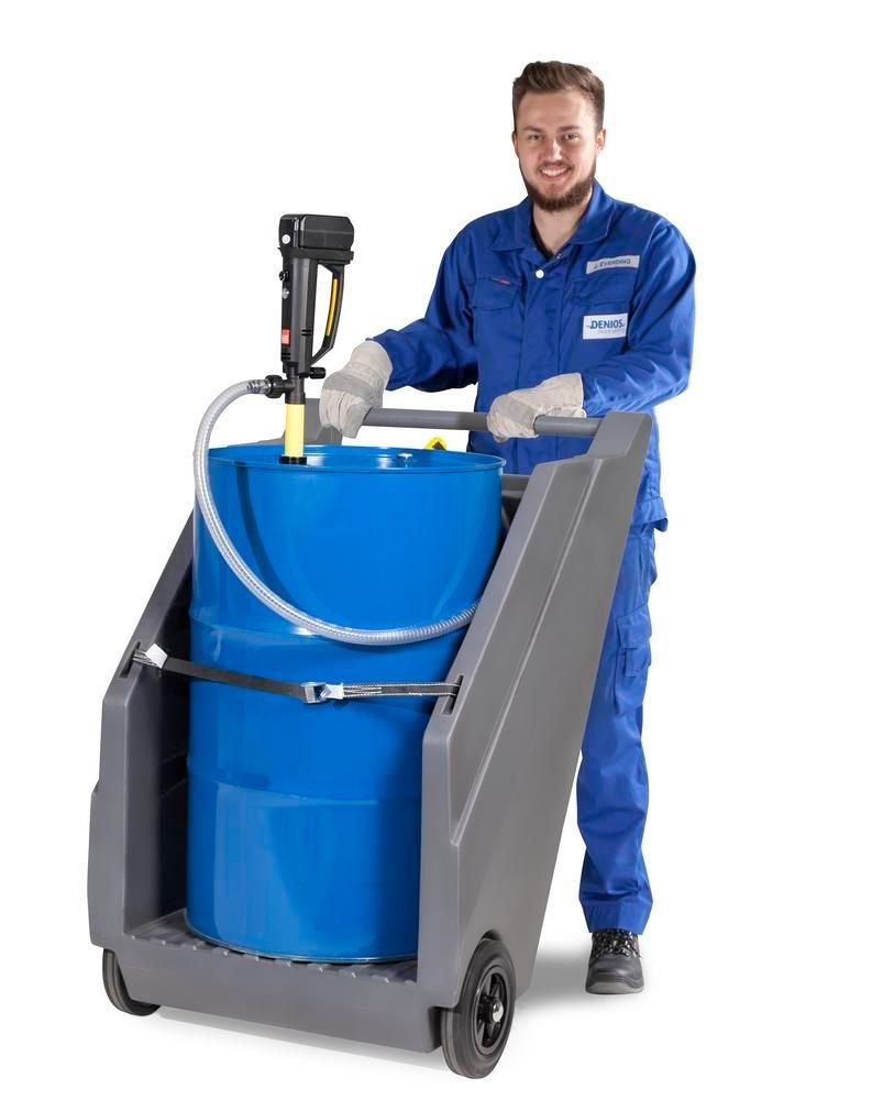 Mobile pump system for acids / chemicals, with drum trolley in PE and battery drum pump in PP - 2