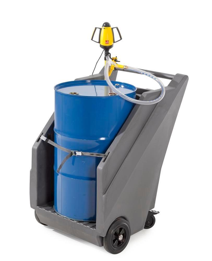 Mobile pump system for acids / chemicals, with drum trolley in PE and electr. drum pump in PP