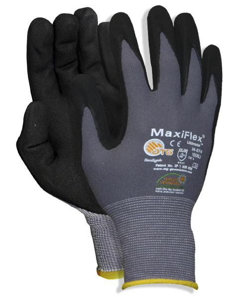 Pack of 12 Nylon-Knitted Gloves Nitril/PU, Size 10