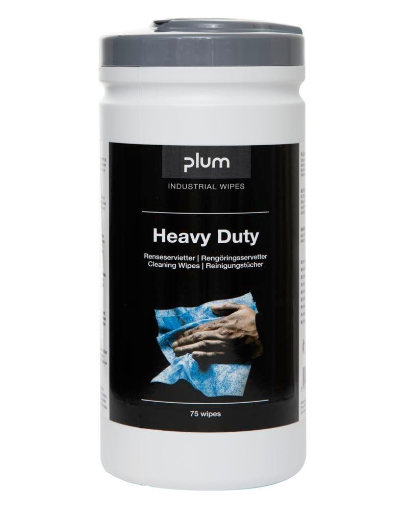 PLUM moist cleaning cloths Heavy Duty, with rubbing effect, 6 dispenser boxes each with 75 cloths