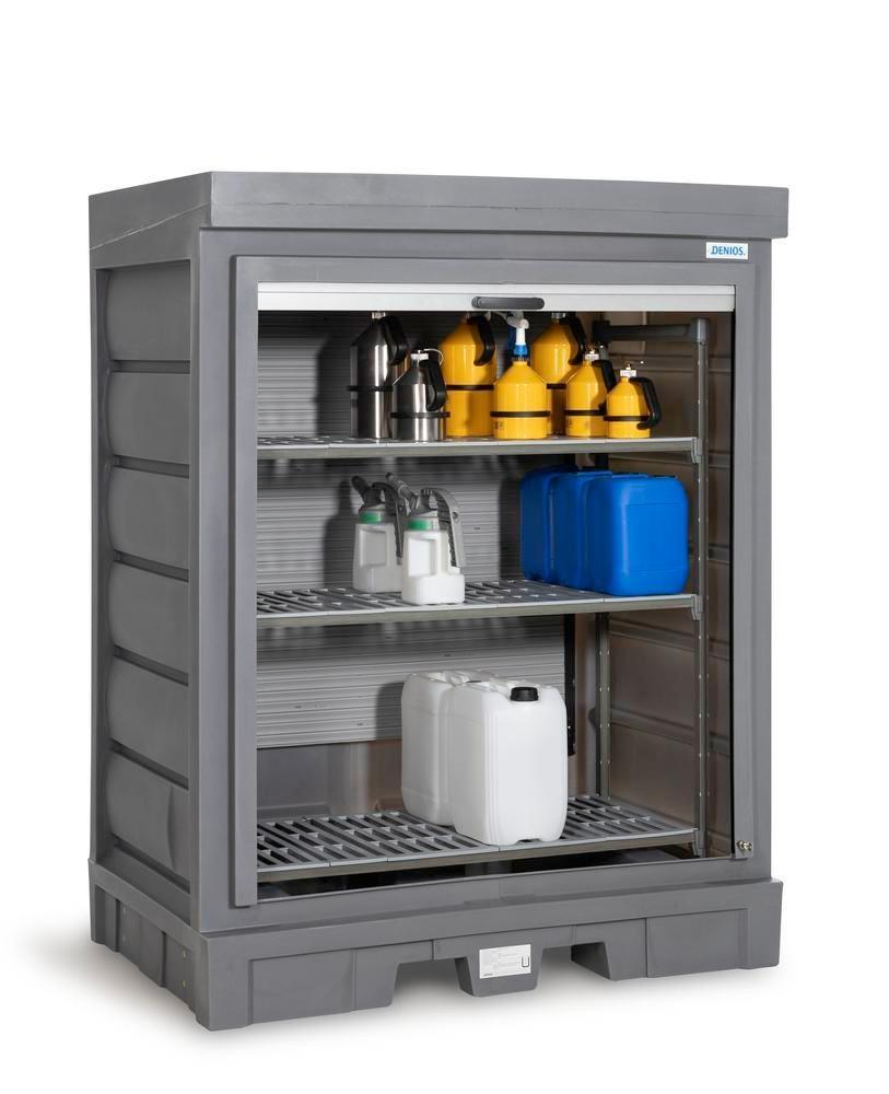 PolySafe Depot D, with plastic shelf, for small containers with roller shutter door