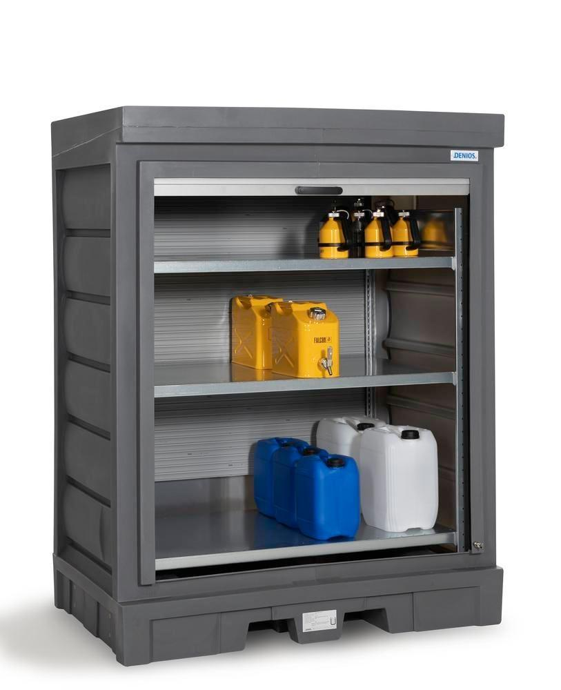 PolySafe depot D, with steel shelf, for small containers with roller shutter door - 1