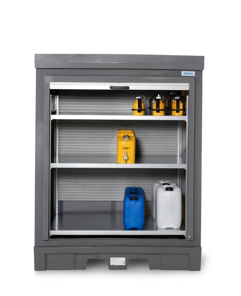 PolySafe depot D, with steel shelf, for small containers with roller shutter door - 2