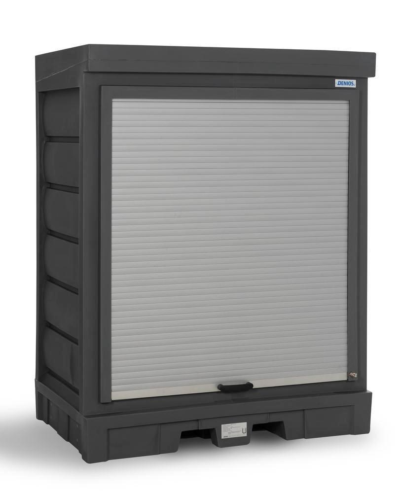 PolySafe depot D, with steel shelf, for small containers with roller shutter door