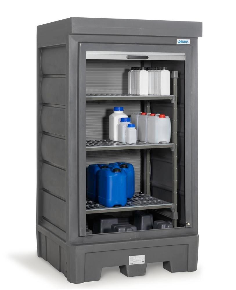PolySafe Depot D1, with plastic shelf, for small containers with roller shutter door - 1