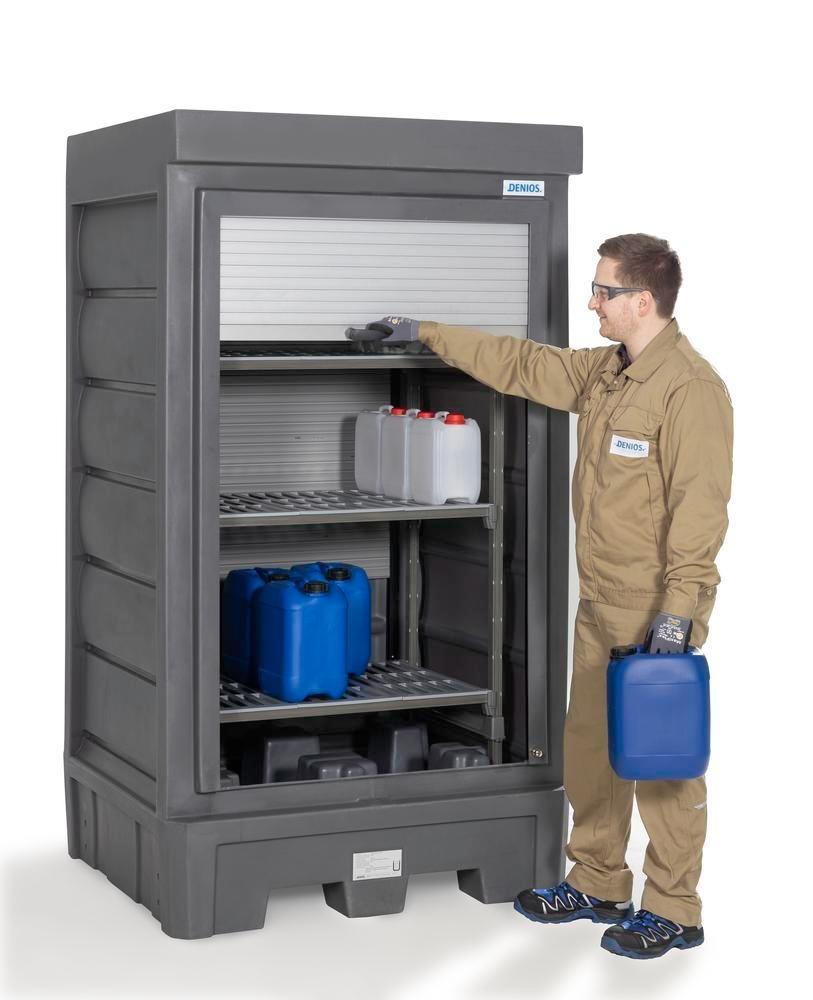 PolySafe Depot D1, with plastic shelf, for small containers with roller shutter door - 4