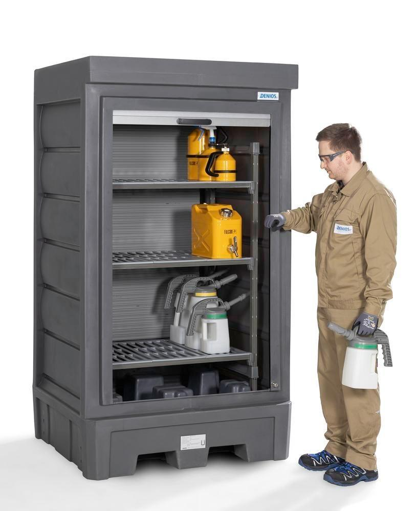 PolySafe Depot D1, with plastic shelf, for small containers with roller shutter door
