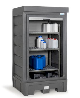 PolySafe Depot D1, with plastic shelf, for small containers with roller shutter door-w280px