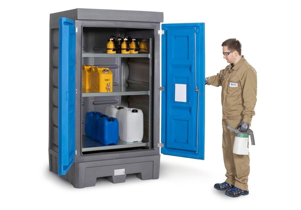 PolySafe depot D1, with steel shelf, for small containers with doors - 2