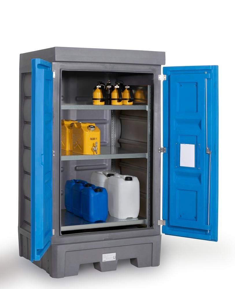 PolySafe depot D1, with steel shelf, for small containers with doors