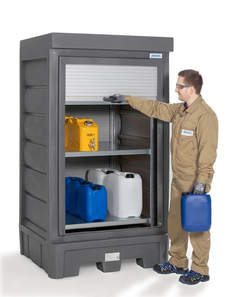 PolySafe depot D1, with steel shelf, for small containers with roller shutter door