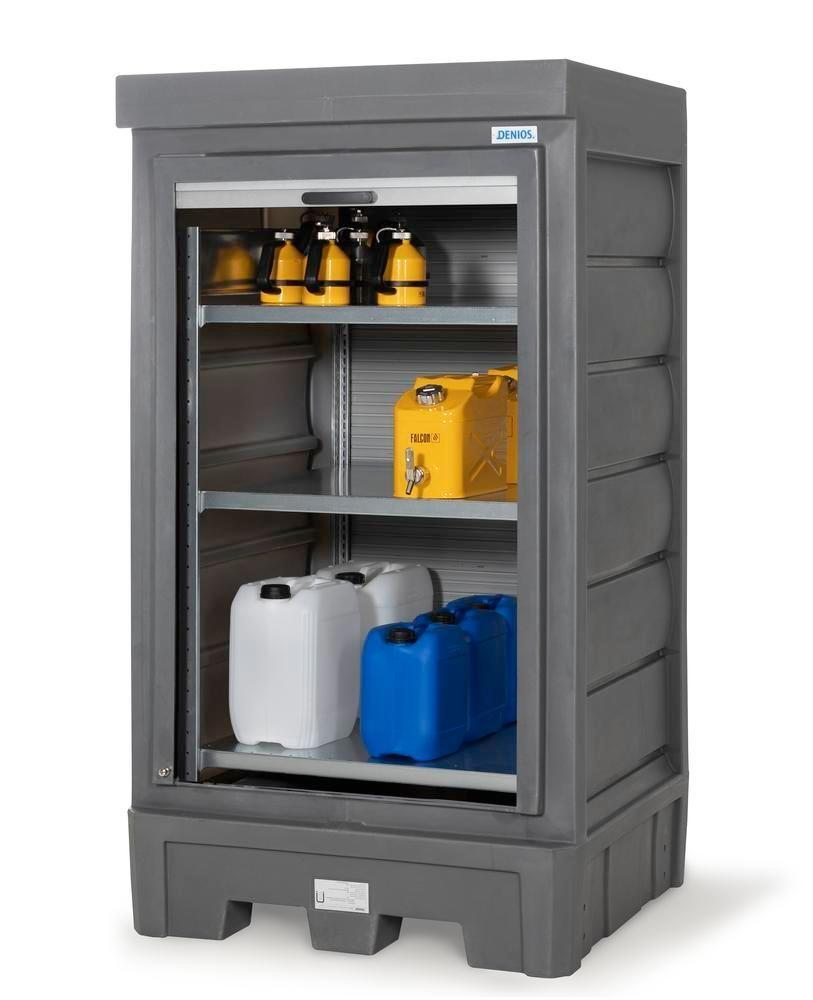 PolySafe depot D1, with steel shelf, for small containers with roller shutter door - 3