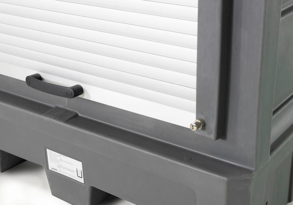 PolySafe depot D1, with steel shelf, for small containers with roller shutter door - 7