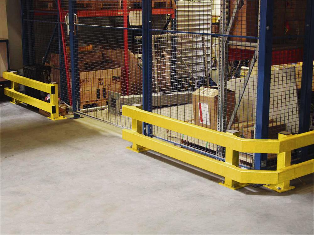 Post for Safe impact protection board, hot-dip galvanised and plastic coated yellow, model S-ZK - 2
